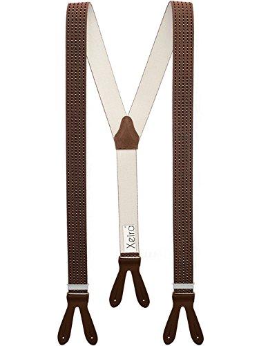 Xeira Braun Bordeaux Gestreifte und Punkte Hosenträger mit Braunen Lederriemen zum Knöpfen für Herren und Damen