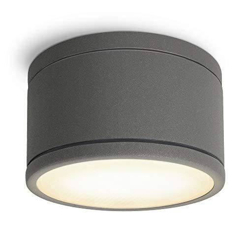 SSC-LUXon CELI-WX Strahler Aufbau IP44 für Aussen & Bad mit LED GX53 Lampe 3W warmweiß - Badstrahler in rund anthrazit 230V