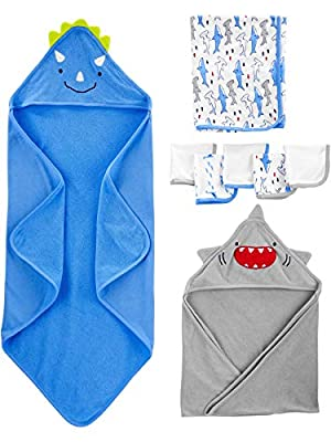 Simple Joys by Carter's Boys' 8-Piece Towel and Washcloth Set, Multi, One Size