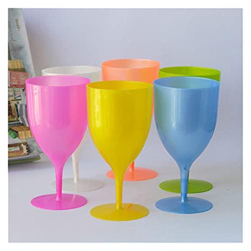 Takagawa HHH Color huida de plástico sin volternos Copa de Vino de Vino Champagne Fiesta de Vidrio Picnic 350ml Vidrio Multiuso 6pcs HHH (Capacity : 301-400ml, Color : 6PCS)