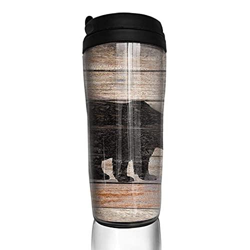 Taza de café con tapa Silueta de oso rústico vintage en madera Lodge Vaso de viaje Taza aislada al vacío Botella de agua