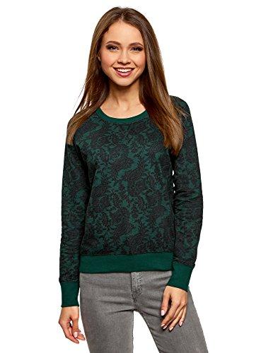 oodji Ultra Mujer Suéter Básico Estampado, Verde, ES 42 / L