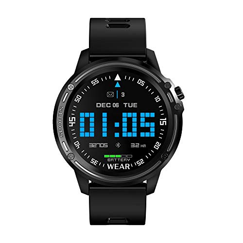 TYOP Smart Watch, Ip68 Waterproof and Long Standby Sports Watch, Smart Round Screen Full Touch Bluetooth Music Control Fitness Tracker (Color : Black)