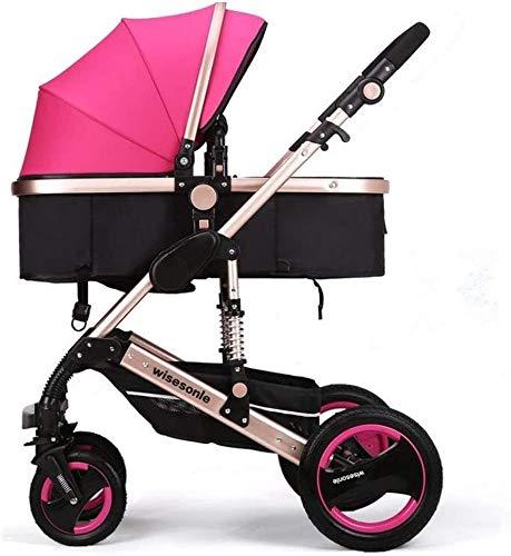 TGFVGHB Cochecito de bebé for recién Nacido, Sillita de Paseo Cochecito de bebé Cochecito 2en1 Sistema de Viaje, Puede Sentarse y acostarse (Color : Pink)