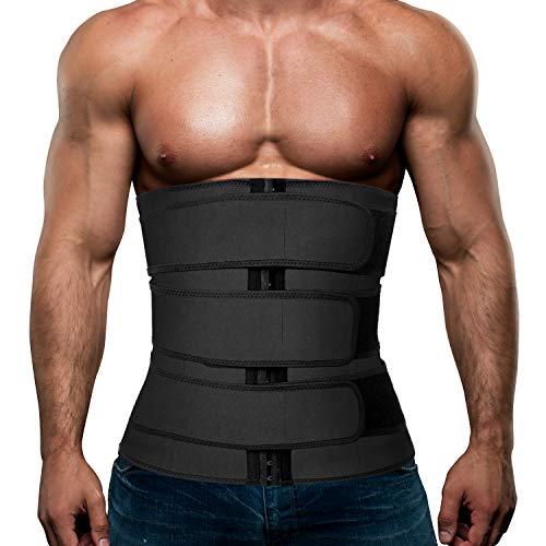 Hidyliu Mens Workout Waist Trainer Neoprene Corset Sauna Sweat Trimmer Cincher Slimming Belly with 3 Belts for Weight Loss (Black Waist Trainer Belt, M)