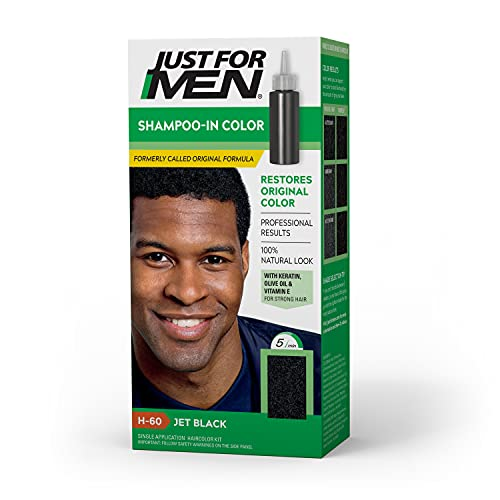 Just For Men Shampoo-In Color (Formerly Original Formula), Gray Hair Coloring Kit for Men, With Keratin and Vitamin E for Stronger Hair - Jet Black, H-60 (Packaging May Vary)