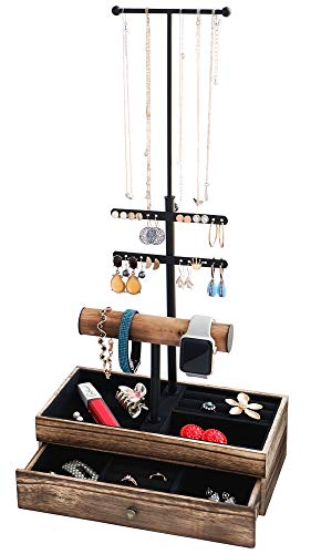 Jewelry Organizer Stand - Necklace Earring Holder - Metal Wood Jewelry Display Tree - Jewelry Storage Organizer for Ring Bracelet Watch - Tiered Jewelry Tower with Adjustable Height & Black Velvet Wooden Drawer