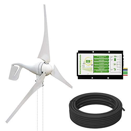 ECO-WORTHY Kit de Generador de Turbina Eólica 400W 12V con Controlador Híbrido 20A 12 / 24V para Sistema Eólico Solar Aplicaciones Marinas/Domésticas Fuera de la Red
