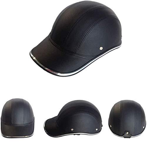TR-yisheng Medio Casco de Motocicleta, Casco Negro Vintage Gorra de béisbol Ligera Abierta para Adultos Street Cruiser Jet Retro Medio Casco (Todos los tamaños: 54-62 cm)