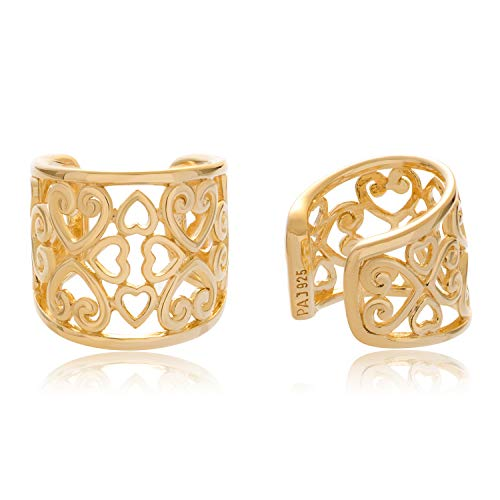18K Yellow Gold Over 925 Sterling Silver Oxidized Celtic Heart Knot Ear Cuffs