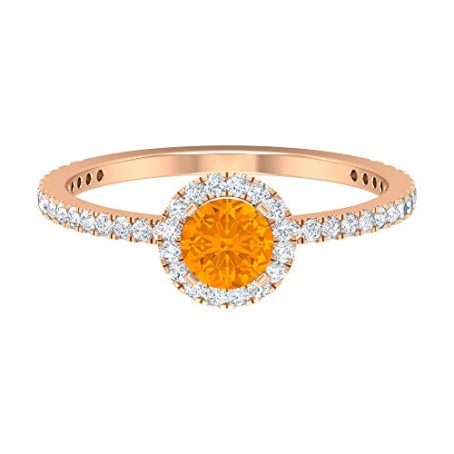 Rosec Jewels 14 quilates oro rosa redonda Round Brilliant Orange Moissanite Zafiro naranja creado en laboratorio