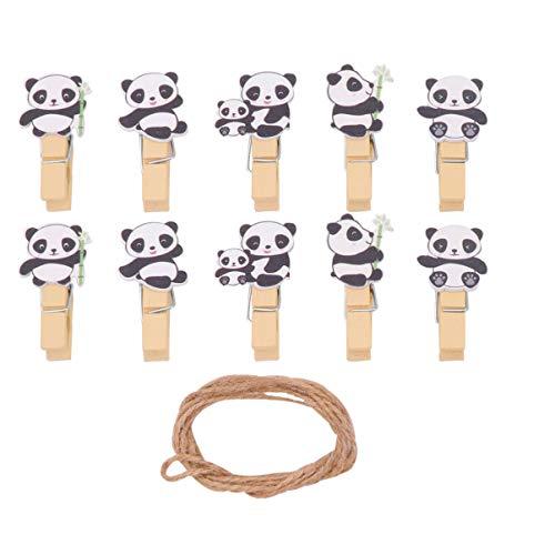 Amosfun 50 Stücke Mini Holzklammern mit Schnur Holz Wäscheklammern Panda Zierklammern Dekoklammern Tier Deko Klammern Foto Clips für Fotowand Basteln Snacks Tüten