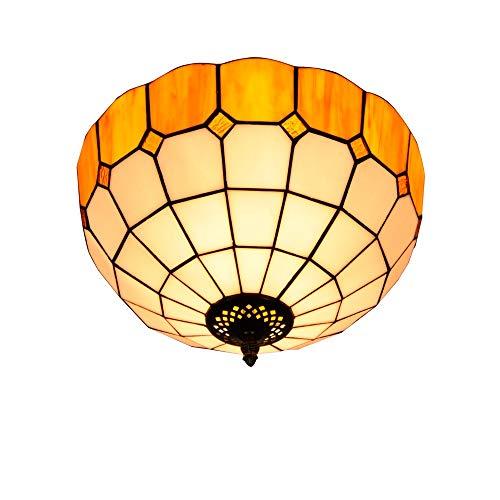 Lámpara de techo de estilo tiffany Lámpara de techo de pasillo Corredor 30CM baño simple cristal de color amarillo Stained Glass lámpara de techo restaurante mediterráneo europeo Dormitorio