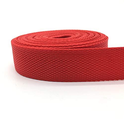 LDCREE 10 Yardas correa de la cinta de 30 mm de la lona de la cinta bolsa de correas de nylon mochila Strapping de coser sacos correa de accesorios para Negro, Rojo