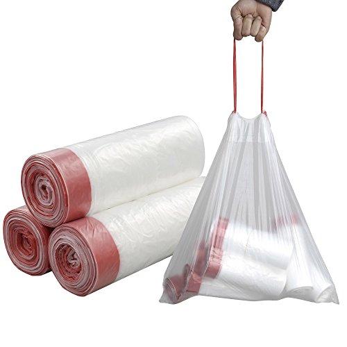 Pekky 7 Gallon Drawstring Trash Bags, Clear, Heavy Duty, 120 Counts