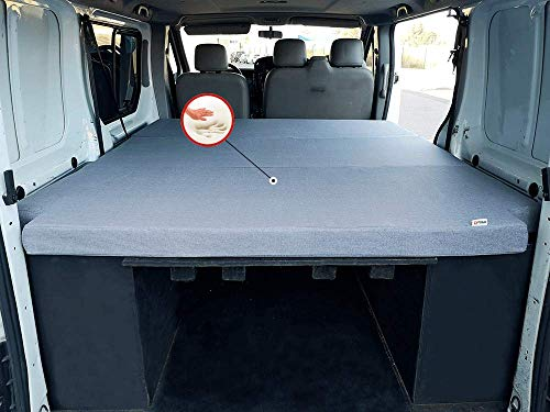 KFoam.es Colchón Plegable con Viscoelástica para Renault Trafic, Opel Vivaro y Nissan Primastar (2002-2014) 155x190x8 cm Color Gris
