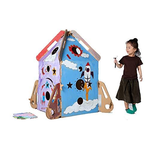 ROCK1ON Karton Speelhuis Kinderen DIY Kleurplaten Ruimte raket Huis Rol Spelen Game Cottage Indoor Spelen Schilderij Papier Huis Opvouwbare Premium Gegolfd