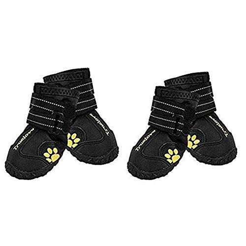 EXPAWLORER Waterproof Dog Boots Reflective Non Slip Pet Booties for Medium Large Dogs Black 4 Pcs