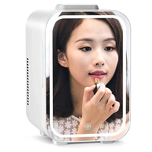 Flawless Beauty Mini refrigerador/refrigerador cosmético portátil, Panel de Vidrio + iluminación LED, con Ajuste de frío y Calor, Utilizado para Maquillaje y Cuidado de la Piel, también se Puede us