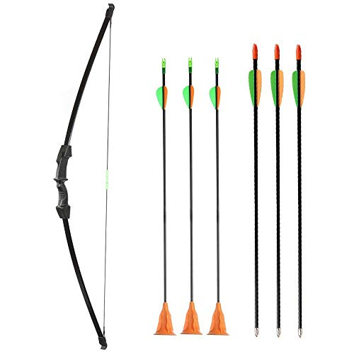 Huntingdoor Youth Bow Set Archery Bow and Arrows for Kids 45inch 15Lbs Takedown Recurve Bow with 3 Fiberglass Targeting Arrows and 3 Suction Cup Arrows LH RH Youth Beginner Kids Teenagers (Black)