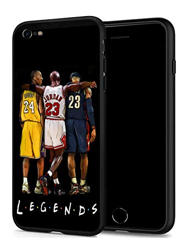 GONA iPhone 7 iPhone 8 Case for Basketball Fans, Soft Silicone Protective Thin Case Compatible with iPhone 7/8 (ONLY) (Legends-Kobe-Jordan-Lebron)