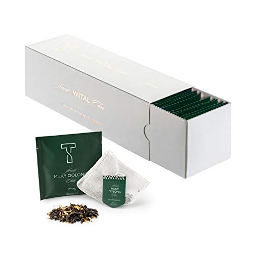 WITAL TEE - MILKY OOLONG - Oolong-Tee - Ganze Blätter - 50 Plastikfreie Handgenähte Teebeutel aus reiner Baumwolle