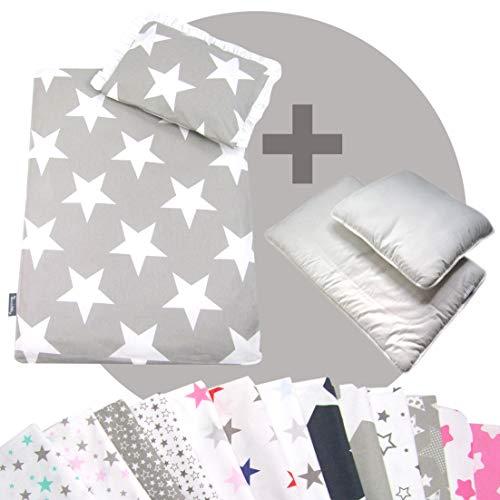 Rawstyle 4 tlg. Set Bezug (STARS) für Kinderwagen Bettwäsche Decke + Kissen + Füllung (Hellgrau + Sterne Weiß groß) …