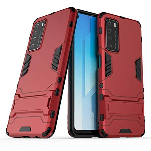 Smfu Cover for Oppo Realme 1 Heavy Duty Shockproof Case with Kickstand Feature Hybrid Dual Layer Armor Defender Protective Cover-with Screen Protector 2 Pack- Non-Slip Cover for Realme 1(Red)