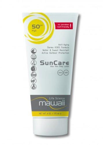 mawaii SunCare SPF 50 - wasserfeste und schweissresistente Sonnencreme, reef-friendly, ideal für Wassersport und Outdoor-Sport, Anti-Aging Sonnenschutz, Sonnenmilch ohne Parabene (1 x 175ml)