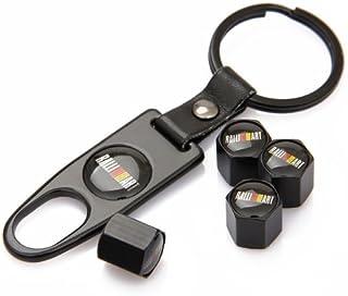 مجموعة من أغطية صمام الإطارات السوداء من Ralliart Mitsubishi ذات اللون الأسود وسلسلة مفاتيح سوداء