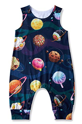 TUONROAD Funny Food Nebula Planet Onesie for Baby Boys Girls Toddler Little Children 3D Galaxy Space Jumpsuit Short Sleeve Round Neck Loose Unisex Baby Creeper Bodysuit for 12-18 Months Daily Casual