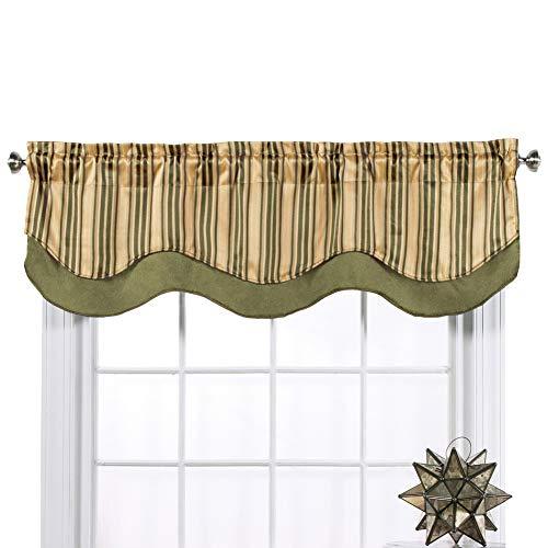 Belle Maison Windsor Scalloped Layered Valance - Olive Color
