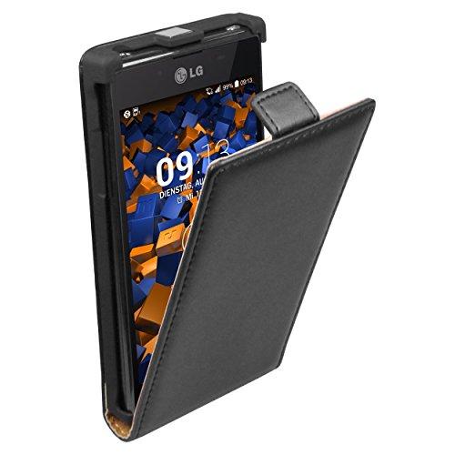 mumbi Echt Leder Flip Case kompatibel mit LG Optimus L7 Hülle Leder Tasche Case Wallet, schwarz