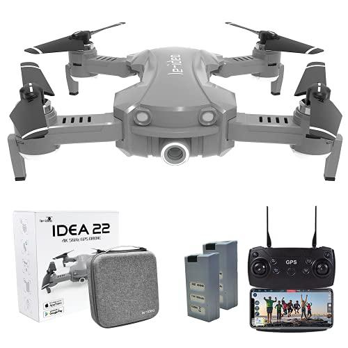 le-idea 22 Drone Plegable GPS con Camara 2K Profesional, 120º Gran Angular, 5GHz WiFi FPV Quadcopter con Cámara HD, Modo sígueme, Modo Sin Cabeza, Retorno a Casa, RC Drone para Adultos & Niños