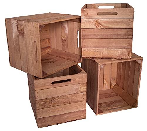 Kistenkolli Altes Land Uppsättning av 4 trälådor förvaringslådor för lådor lämplig för alla kallaxhyllor och Expidit-hyllor 33 x 38 x 32,5 cm kallax-lådor insats (4 st vintage ocka)