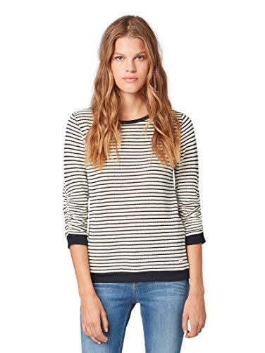 TOM TAILOR Denim Damen Gestreifter Pullover, Schwarz (Black White Structure 21077), Medium (Herstellergröße: M)