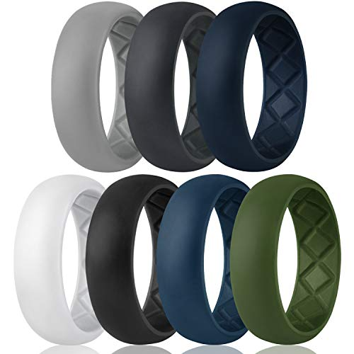Egnaro Silicone Wedding Ring for Men, Breathable Mens