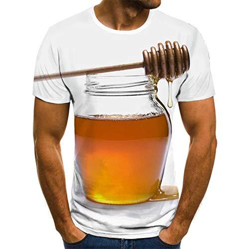 HDDNZH 3D Printed T-shirt met korte mouwen, Europese en Amerikaanse stijl, 3D Hd afdrukken Abstract Een pot van honing korte mouw,T-Shirt Mode voor modemannen en vrouwen