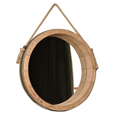 AWJ American Village Espejo de Pared Decoración, Marco sólido Forma Barril de Madera con la Cuerda del cáñamo Tradicional Ronda Espejo Colgante