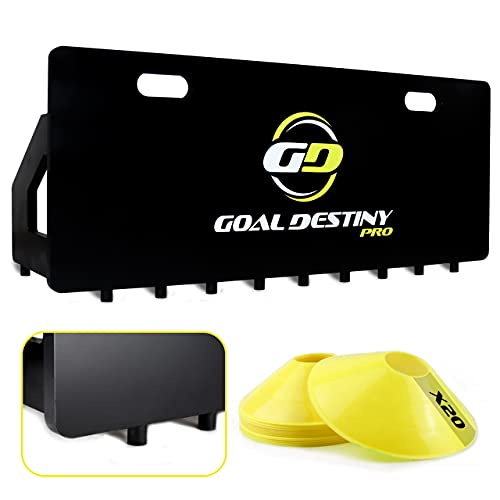 Goal Destiny Pro Soccer Rebounder Board Set with Non-Slip Studs - The New Soccer Passing Wall Training Aid Comes with 20 Soccer Cones The Perfect Equipment for Training Soccer Improve Your Passes