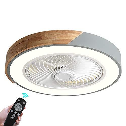 Ventilador De Techo Con de Luz y Control Remoto, Luz De Techo Regulable LED Dormitorio Moderna,Lámpara De Techo con Velocidad De Viento Ajustable,lámpara de ventilador Ultra Silencioso invisible Ø52CM