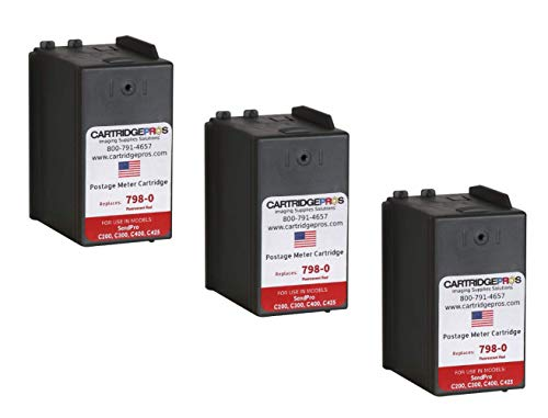 3-Pack replacement compatible SL‑798‑0 Ink Cartridges for SendPro C200, C300 and C400 Postage Meters. Made in the USA.