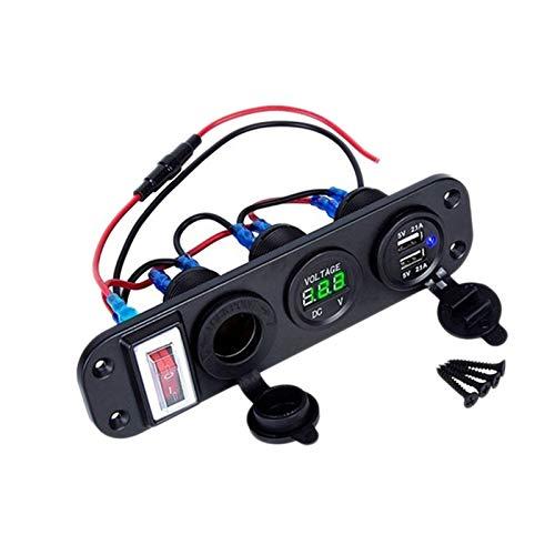Summor 4 en 1 Dual QC3.0 Cargador de Corriente C-Igarette Encendedor VoltíMetro Digital con Interruptor Basculante y Control Inteligente de