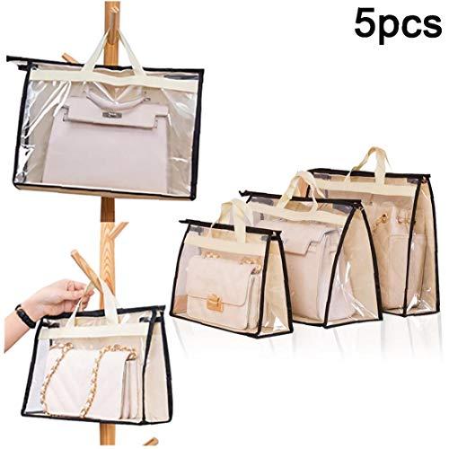 5pcs Transparente Handtaschen Staub-Speicher-Beutel Anti-Staub-Geldbeutel-Speicher-Beutel-handtaschen-staubschutztasche Beige (je 1 Für S/M // L/XL/XXL)