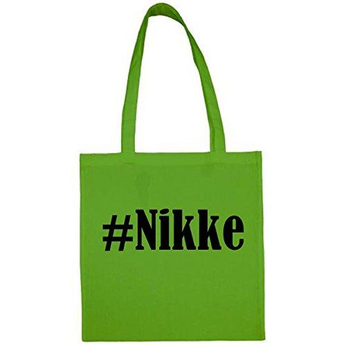 Bolsa #Nikke Tamaño 38x42 Color Verde Impresión Negro