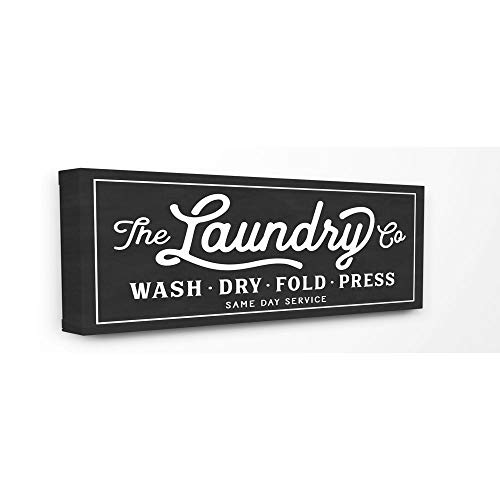 Stupell Home Décor Vintage Laundry Sign Cursive Typography Stretched Canvas Wall Art, 10 x 1.5 x 24, Proudly Made in USA
