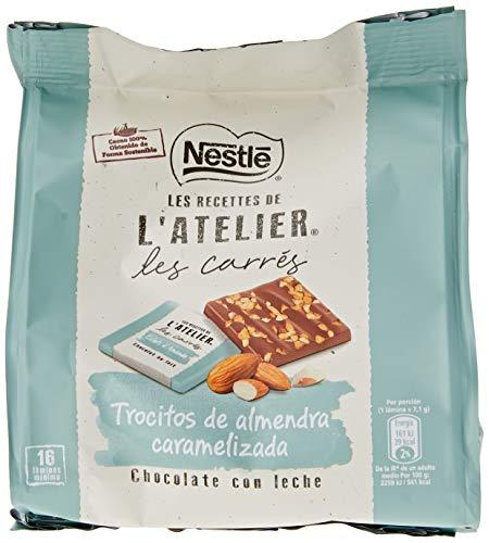 Nestlé Les Recettes de L'Atelier Láminas Chocolate con Leche y Almendras 130g - Pack de 6