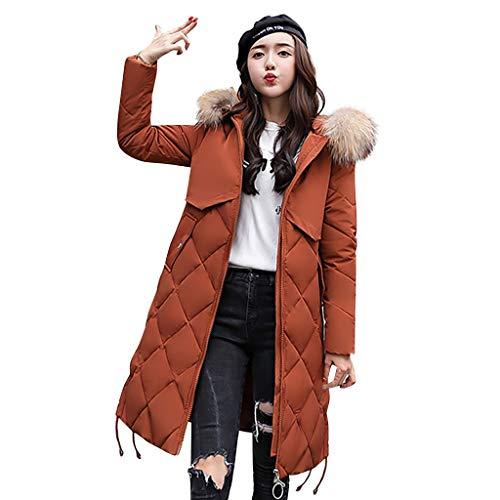 Plot Damen Steppjacke mit Kapuze Einfarbig Slim Fit Winterjacke Lang Casual Stepp Jacken Winter Warm Kapuzenjacke Winterparka Gefüttert Outwear Coat
