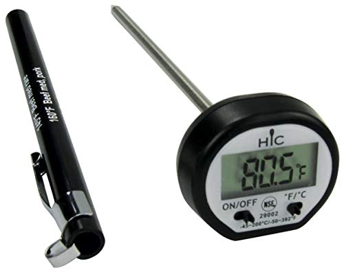HIC Roasting Instant-Read Digital Meat Poultry Turkey Grill Thermometer, Shatterproof LCD Display, Stainless Steel and Protective Antimicrobial Sheath with Internal Temperature Chart