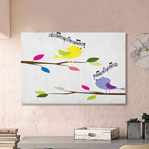 ParadiseDecor Birds Wall Decor for Girls Bedroom Cute Colorful Birds Singing on Tree Best Happiness Mascots Artsy Humor Illustration Ideas for Coworkers Multicolor L12 x H18 Inch